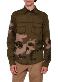 Valentino Unfinished-Hem Panther-Embroidered Military Shirt
