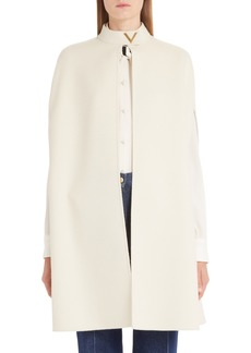Valentino V-Detail Double Face Wool & Angora Rabbit Cape