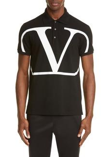Valentino V-Logo Black Short Sleeve Piqué Polo