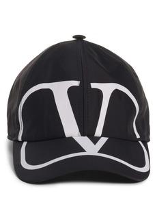 Valentino V Logo Cotton Baseball Cap