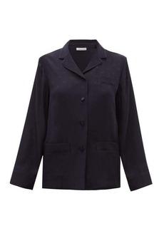 Valentino V-Logo jacquard satin-back silk-chiffon shirt