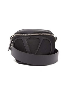 Valentino Garavani V-logo leather-trim cross-body bag
