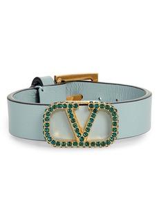 Valentino V-Logo Pavé Crystal & Leather Bracelet