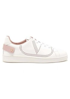 Valentino V Logo perforated leather trainers