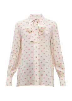 Valentino V-logo pussy-bow silk blouse