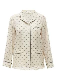 Valentino V-logo silk-crepe blouse