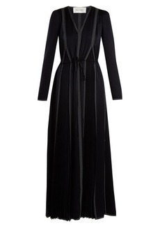 Valentino V-neck long-sleeved hammered-satin dress