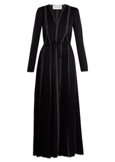 Valentino V-neck long-sleeved hammered-satin dress