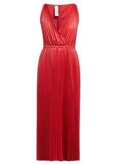 Valentino V-neck pleated leather gown