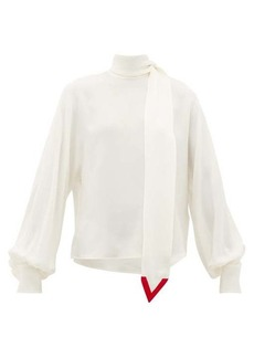 Valentino V-neck tie silk-georgette blouse