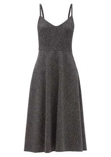 Valentino V-neck wool-blend tweed midi dress