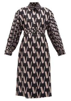 Valentino V-print pleated silk-faille trench coat