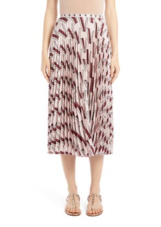 Valentino V-Print Pleated Silk Midi Skirt