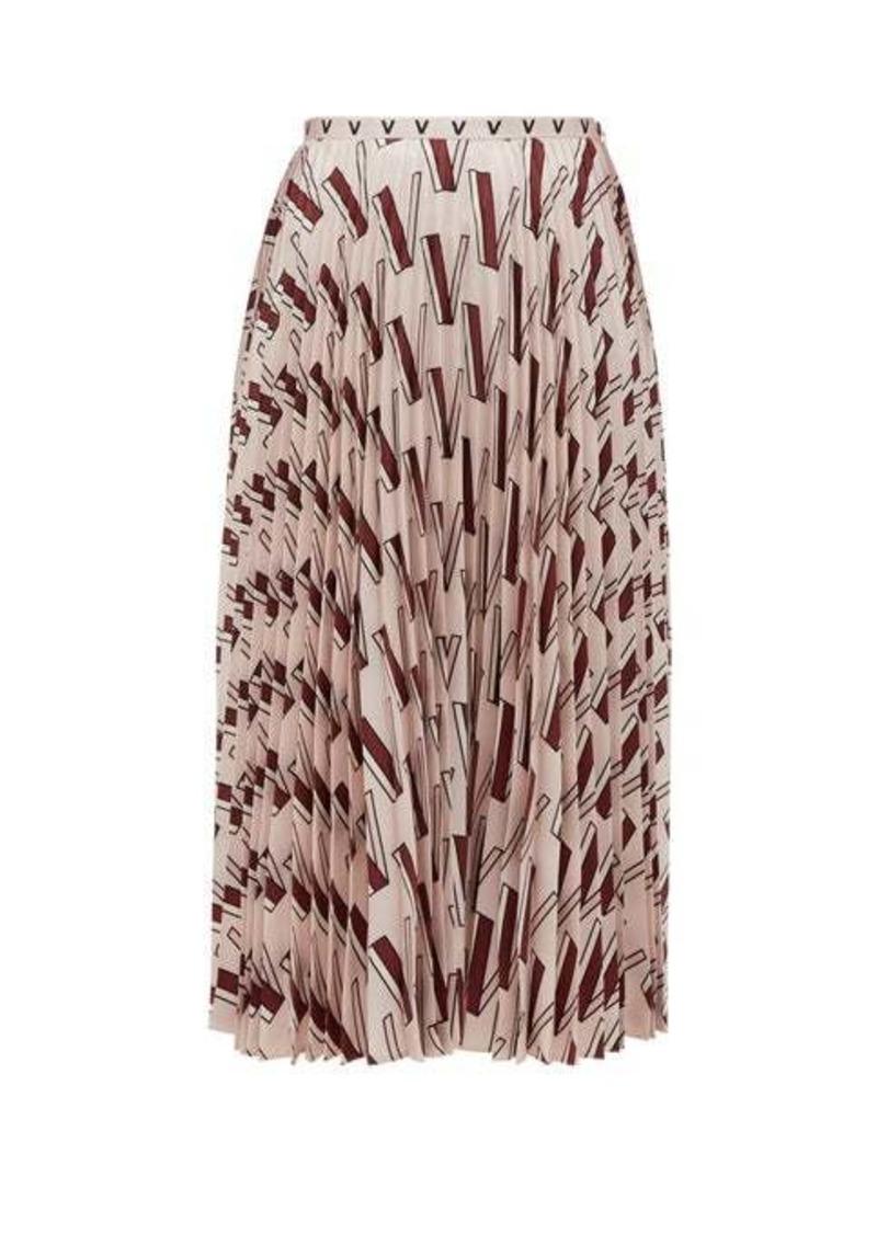 Valentino V-print pleated silk-satin midi skirt