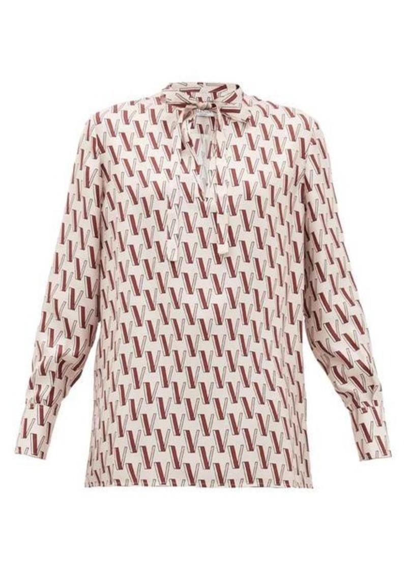 Valentino V-print tie-neck silk blouse