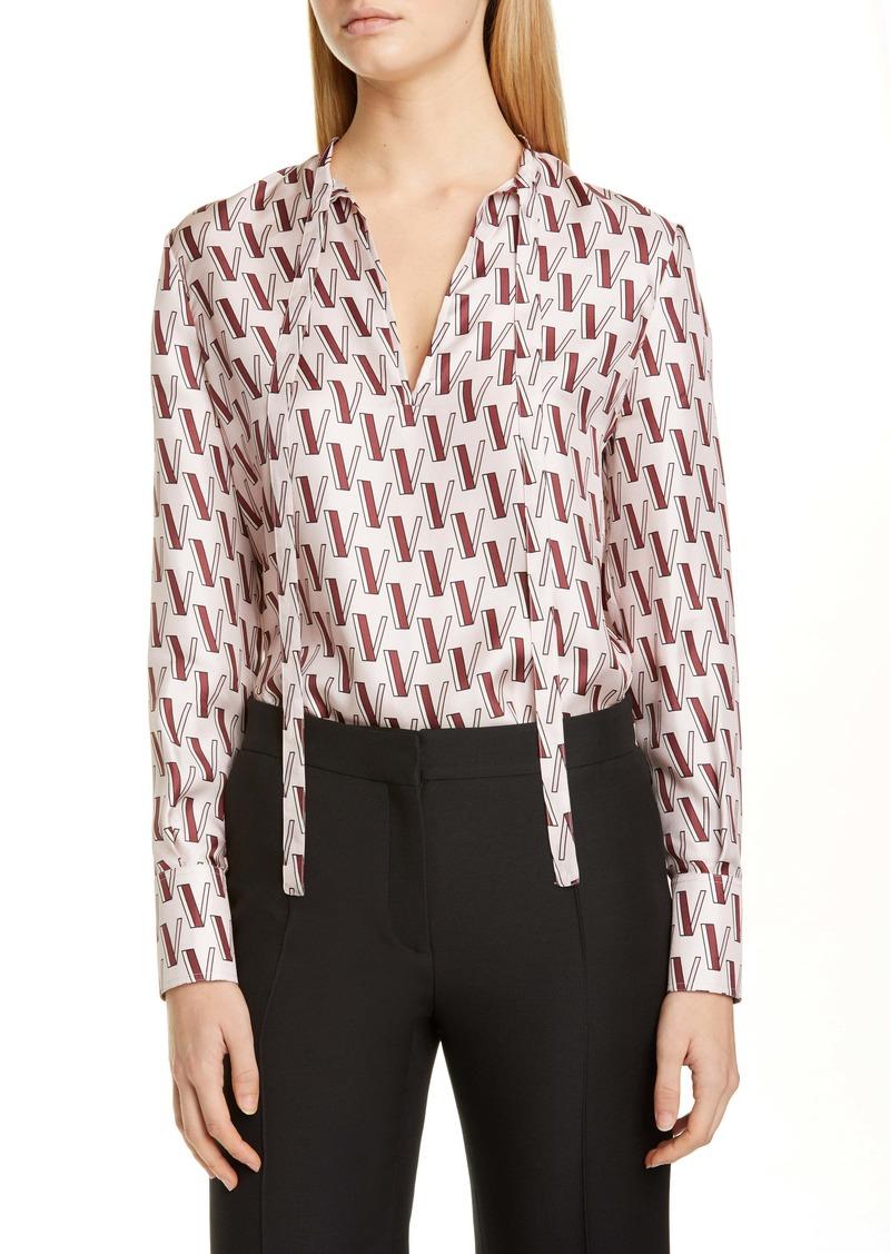 Valentino V-Print Tie Neck Silk Twill Blouse