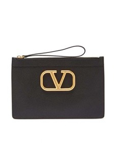 Valentino Garavani V-ring grained-leather pouch