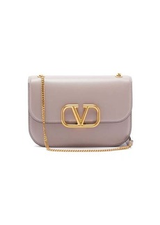 Valentino V-ring two-tone leather shoulder bag