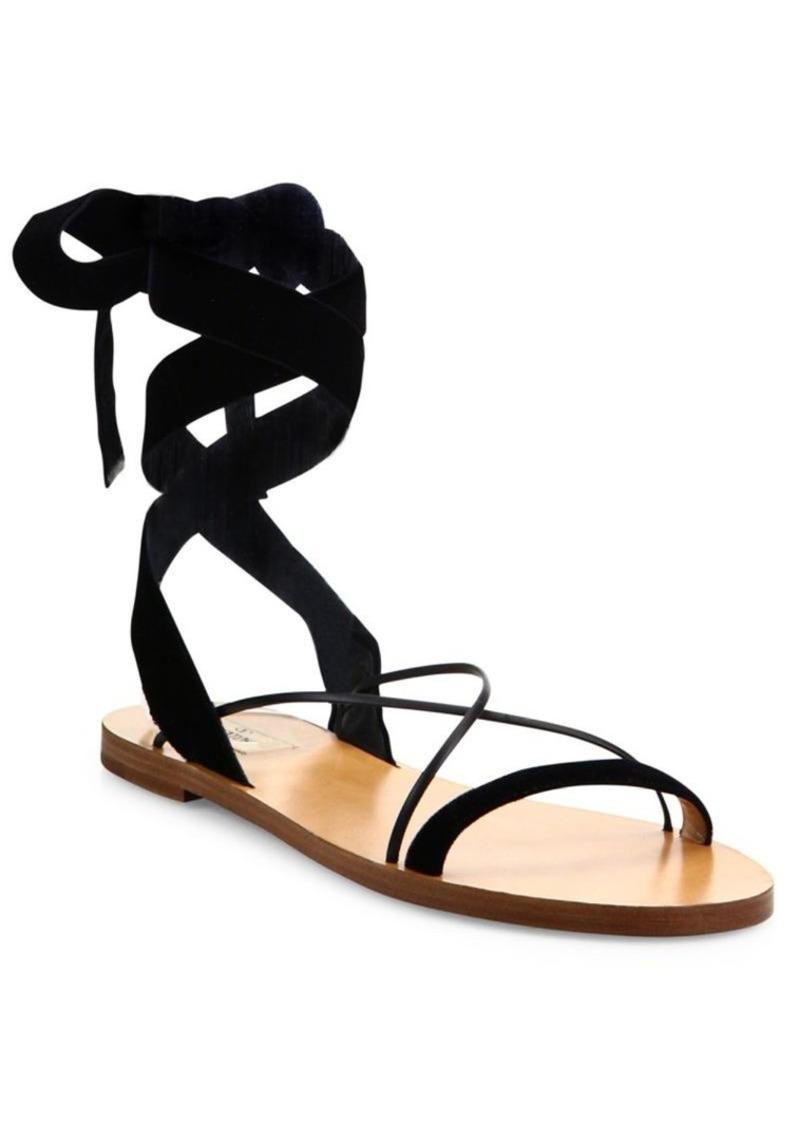 37553c9a8cb162 Valentino VALENTINO GARAVANI Velvet Ankle-Wrap Sandals