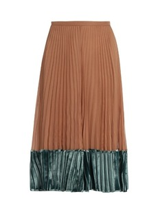 Valentino Velvet-panel pleated silk-georgette midi skirt