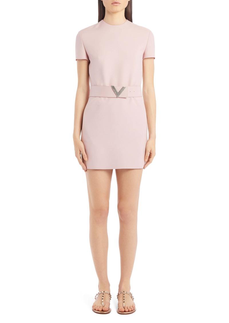 Valentino VLOGO Belted Wool & Silk Minidress