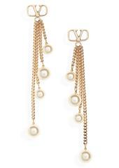 Valentino VLOGO Chain Drop Imitation Pearl Earrings
