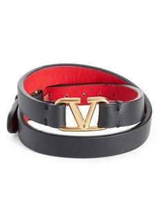 Valentino VLOGO Double Wrap Leather Bracelet