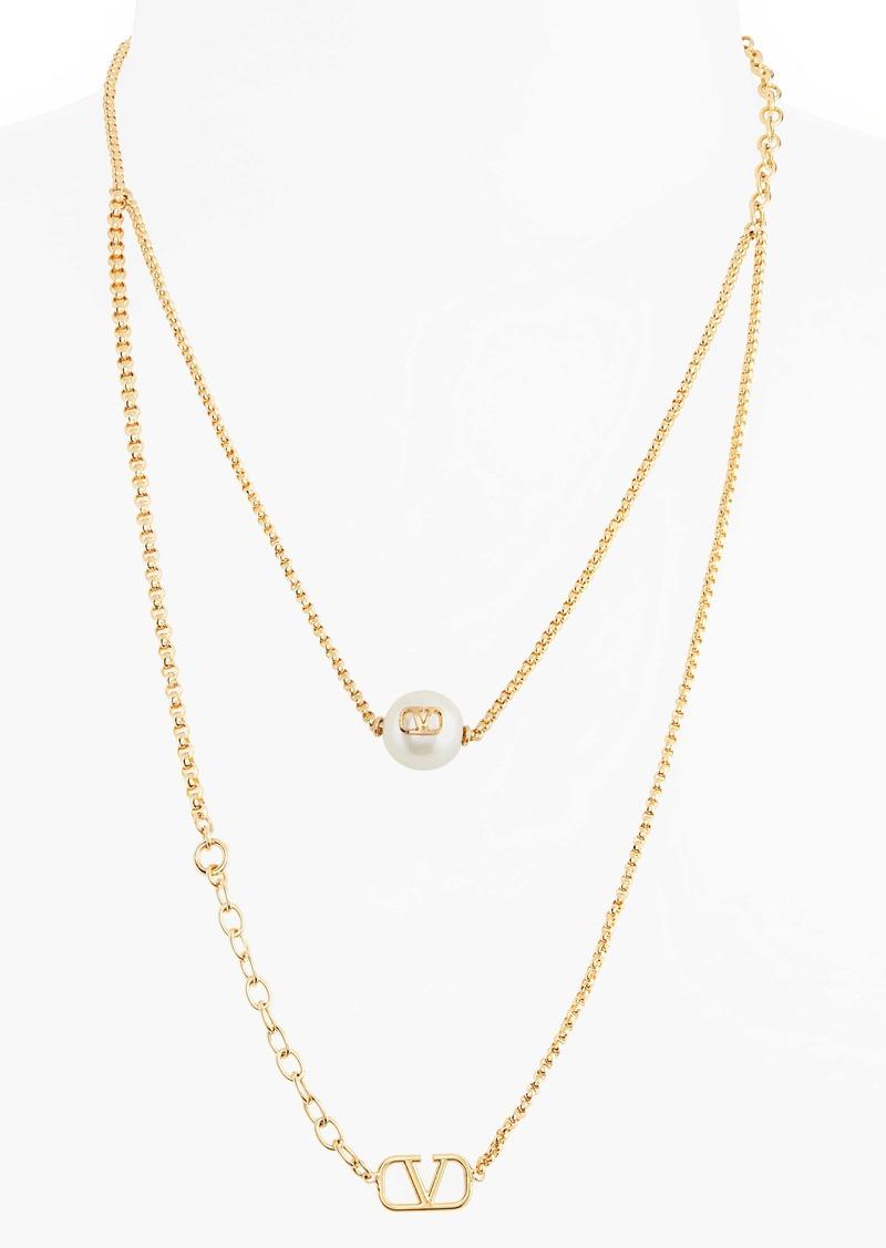 Valentino VLOGO Imitation Pearl Layered Necklace