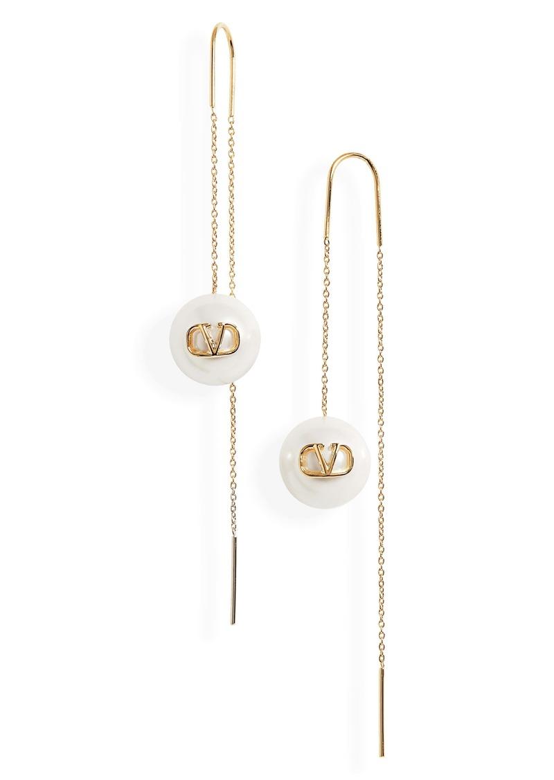 Valentino VLOGO Imitation Pearl Linear Earrings