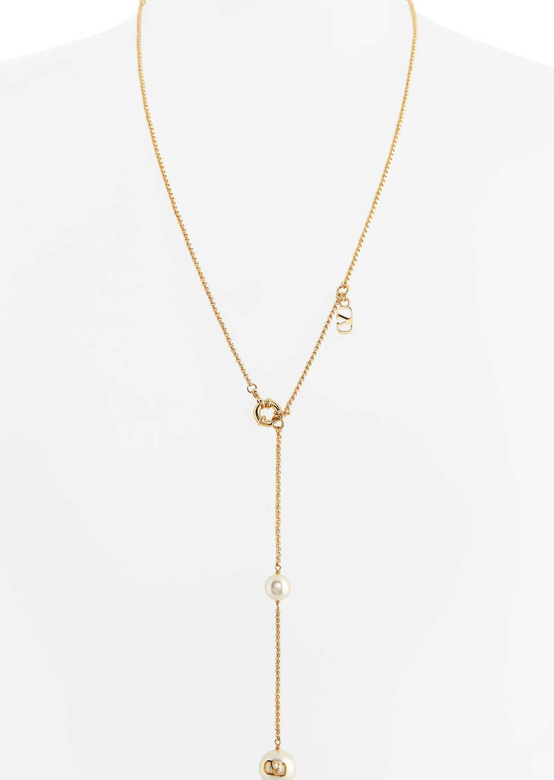 Valentino VLOGO Imitation Pearl Y-Necklace