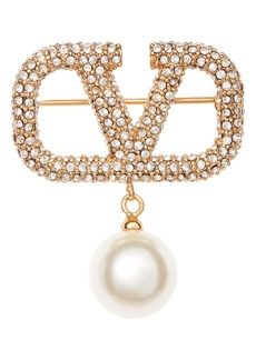 Valentino VLOGO Pavé & Imitation Pearl Brooch