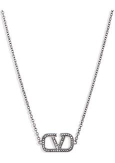 Valentino VLOGO Pavé Pendant Necklace