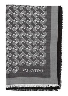 Valentino VLOGO Silk & Virgin Wool Square Scarf