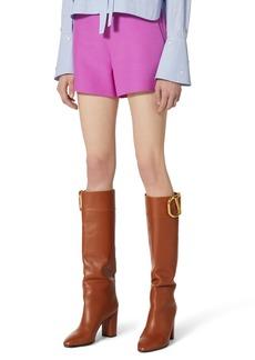 Valentino VLOGO Waist Wool & Silk Shorts