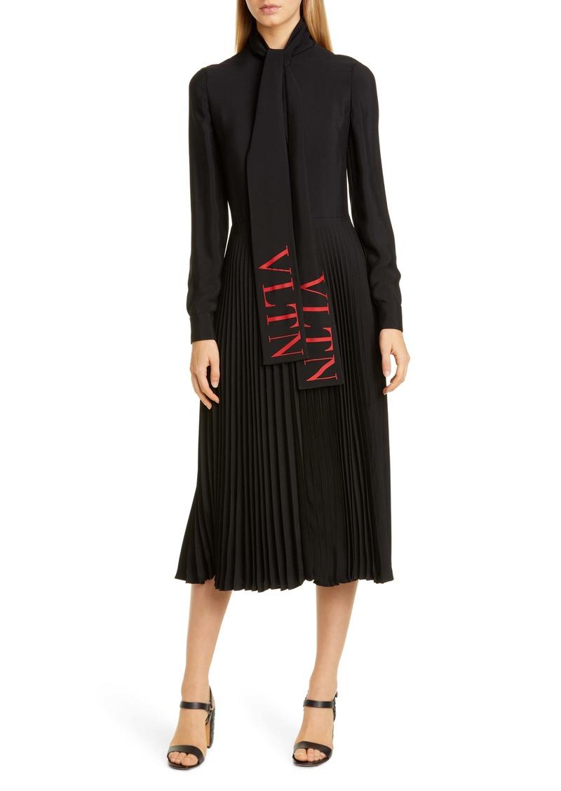 Valentino VLTN Logo Tie Neck Long Sleeve Midi Dress
