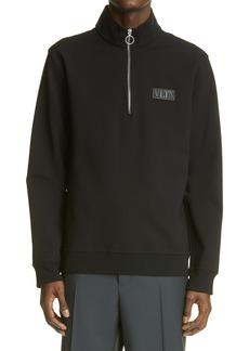 Valentino VLTN Tag Half Zip Jersey Sweatshirt
