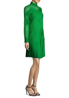 Valentino Wave Lace Inset Pleated Dress