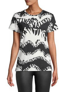 Valentino-Waves Crewneck Short-Sleeve Jersey T-Shirt
