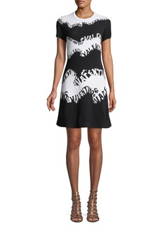Valentino-Waves Stretch-Viscose Jacquard Short-Sleeve A-Line Knit Dress