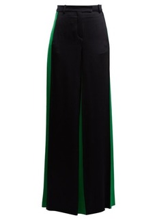 Valentino Wide-leg hammered-satin trousers