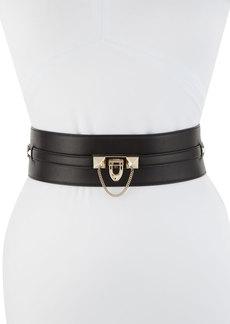 Valentino Wide Lock Calf Leather Belt