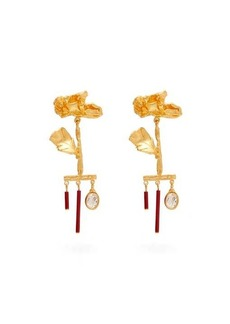 Valentino Wilted-flower drop-pendant earrings
