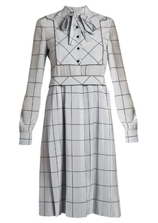Valentino Windowpane-check silk crepe de Chine midi dress
