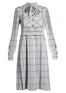 Valentino Windowpane-check silk crepe de Chine midi dress