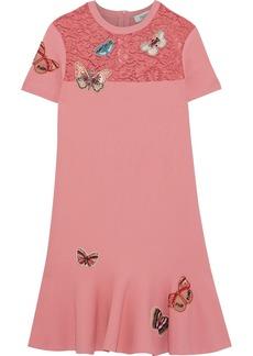 Valentino Woman Appliquéd Corded Lace-paneled Knitted Mini Dress Bubblegum