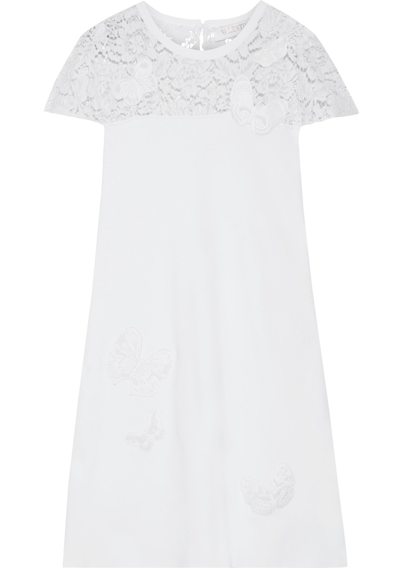 Valentino Woman Appliquéd Corded Lace-paneled Ponte Mini Dress White