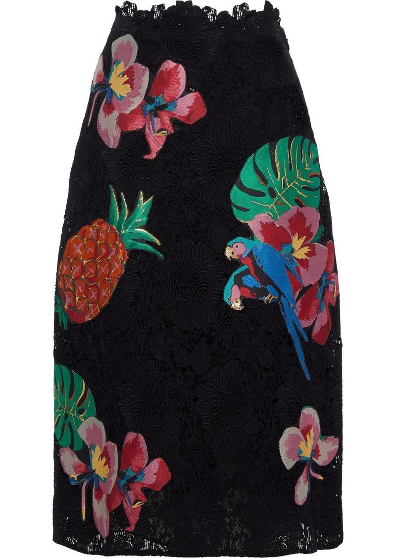 Valentino Woman Appliquéd Cotton-blend Guipure Lace Skirt Black