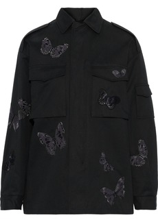 Valentino Woman Appliquéd Cotton-twill Jacket Black