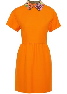 Valentino Woman Appliquéd Leather-trimmed Wool And Silk-blend Mini Dress Orange