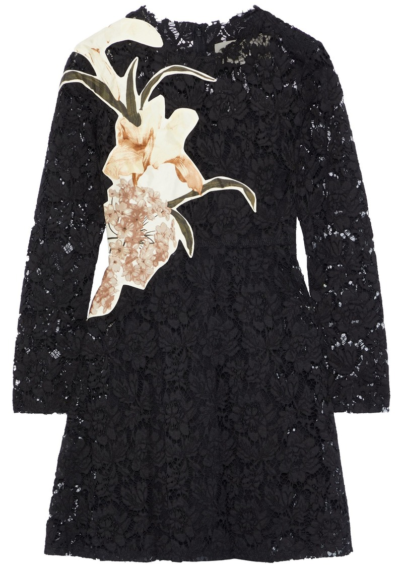 Valentino Woman Appliquéd Silk-blend Corded Lace Mini Dress Black